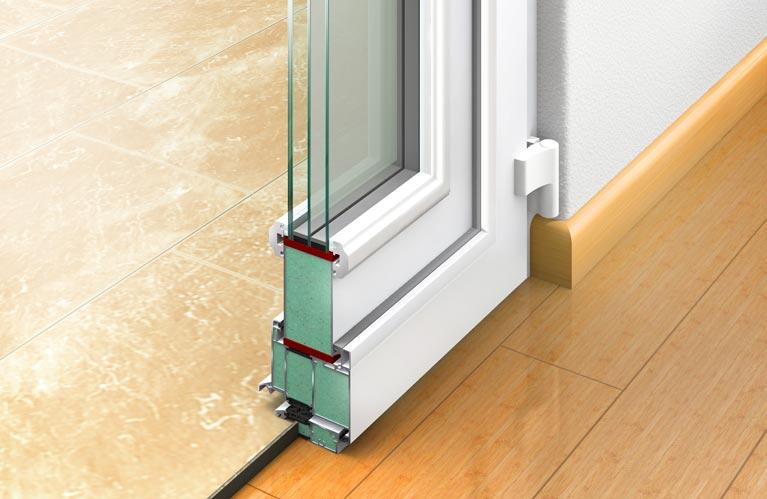 Glasfalzfüllung:  Bei der Glasfalzfüllung ist die Füllung in den Türflügel eingesetzt. Die umlaufenden Dichtungskanten sind innen und außen sichtbar.