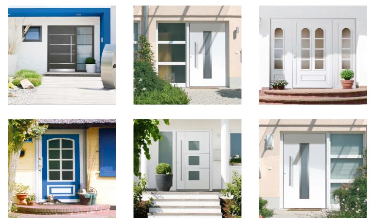 Übersicht aller perfecta Haustürmodelle – die Montage erfolgt im 'Wechsel ohne Dreck'-Verfahren.