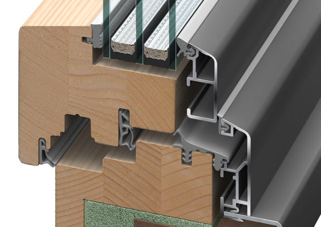 Holz / Alu-Fenster Naturholz-Rahmen